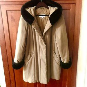 Jones New York Coat Jacket With Faux Fur Trim